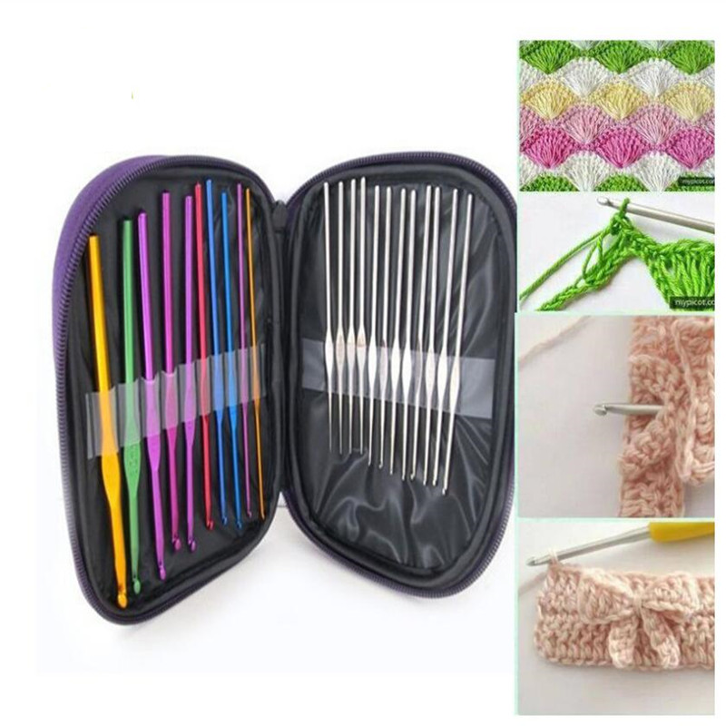22pcs/set Hand Sewing Needles Knitting Needles Metal Crochet Sweater Needles Suit Stainless Steel Aluminum Crochet Set|DIY Knitting| |  - title=