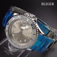 Vidro de safira bliger 40mm mostrador prata relógio masculino cerâmica rotativa bezel marcas luminosas banda inoxidável movimento automático|Relógios mecânicos| |  -
