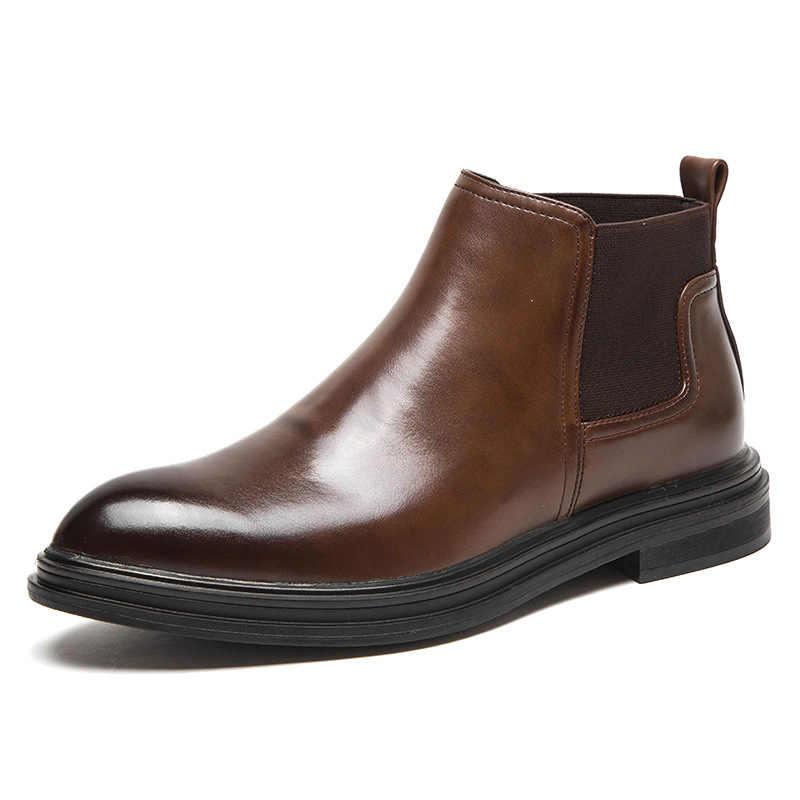 Erkekler kısa çizmeler klasik ayak bileği bağcıksız ayakkabı parlak ayak yarım çizmeler İngiltere rahat ayakkabılar erkek spor elastik ayakkabı zy582