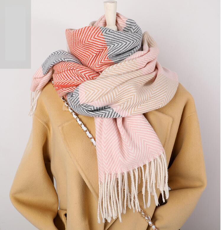 2020 Winter Scarf For Women Shawls Wrap Fashion Plaid Warm Thick Cashmere Scarves Lady Pashmina Female