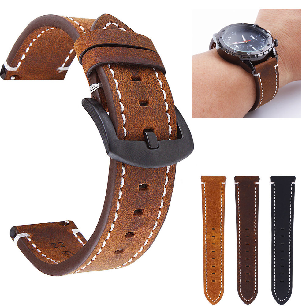 18mm 20mm 22mm Retro Genuine Leather Band For Samsung Galaxy Watch 42mm 46mm Strap Gear S2 S3 Wristband For Amazfit Bands|Watchbands| |  - title=