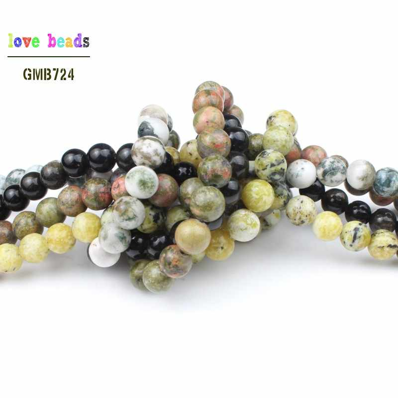 4/6/8/10/12mm cristal ágata turquesa aventurnes unakites contas de pedra para fazer jóias 15 Polegada diy fazer pulseiras