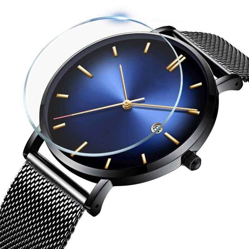 2019 New Men Watches Gradient Color Quartz Casual Trendy Stainless Steel Mesh Strap Ultra Thin Clock Business Gift WristWatch