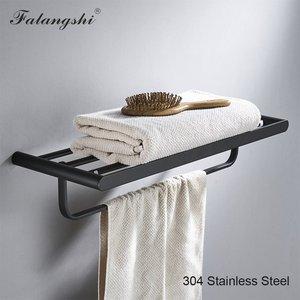 Image 2 - Falangshi Juego de accesorios de baño, toallero de alta calidad con acabado negro, soporte para papel higiénico, jabonera montada en la pared, WB8846