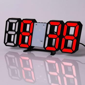 Led Digital Wall Clock Modern Design Watch Clocks 3D Living Room Decor Table  Alarm Nightlight Luminous Desktop 13