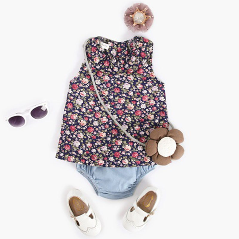 Baby Clothing Sets Summer Sleeveless Small Floral Tops +Briefs 2PCS Outfits Baby Girls Clothes Casual Cotton Set