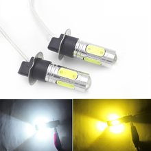 2Pcs H3 Led-lampen COB 7,5 W Auto LED Nebel Lichter DRL High Power Auto Nebel Lampe Weiß Gelb 12V(China)