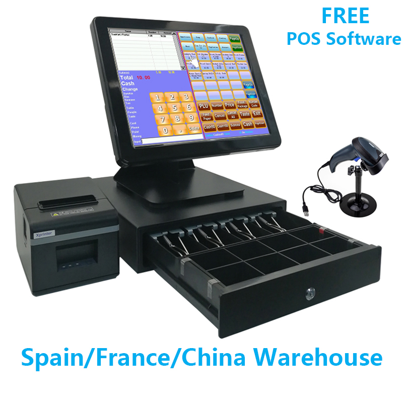 15 Inch POS Software Touch Screen POS System Cash Register Machine For Restaurant Or Retail Store