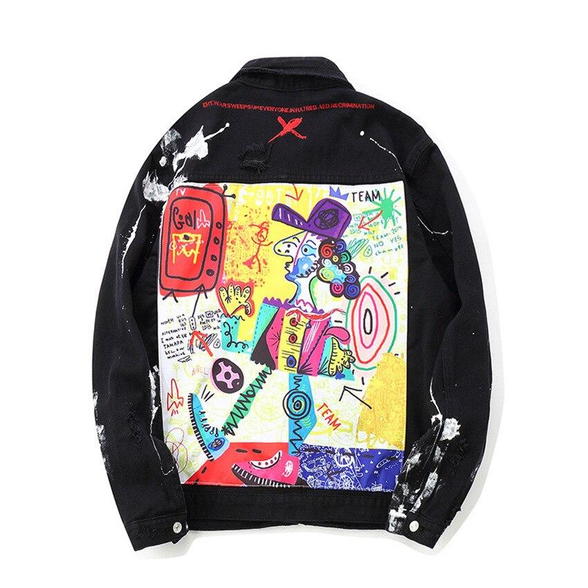 Fashion 2019 New Men Hip Hop Graffiti Cartoon Ripped Denim Jackets Mens Casual Distressed Jeans Jacket Coat Streetwear