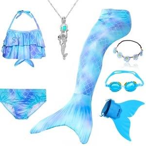 Image 2 - 인어 꼬리 의상 수영을위한 인어 꼬리 monofin 소녀 의상과 인어 꼬리 비키니 flippe와 수영복 수영복