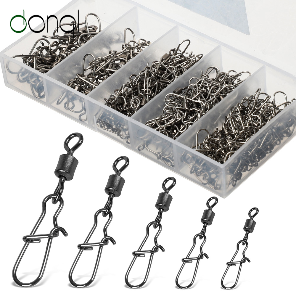 DONQL 100pcs/ Set Fishing Connector Swivels Interlock Pin Snap 4#-12# Rolling Swivel For Fishhook Lure Fishing Accessories