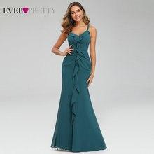 Lange Prom Kleid 2020 Immer Ziemlich EP07354TE Elegante EINE Linie V Neck Sleeveless Rüschen Abend Party Kleider Vestido De Fiesta noche