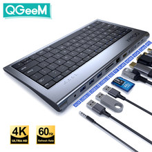 Qgeem usb c hub para macbook pro triplo tipo de exibição c hub para dupla 4k hdmi & dp micro sd leitores de cartão rj45 aux pd usb hub adaptador