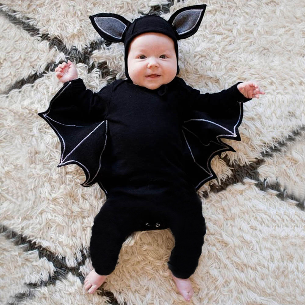 Arloneet Infant baby rompers halloween costume bat print Toddler Baby Girls Boys Romper+Hat Halloween Clothes Jumpsuit +hat CO07