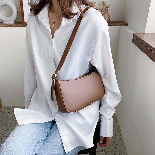 Cute Solid Color Small PU Leather Shoulder Bags For Women 2021 Summer Simple Handbags And Purses Female Travel Totes 3