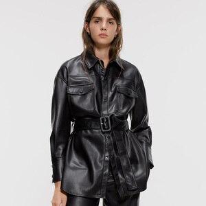 2020 nova moda feminina magro ajuste macio falso jaquetas de couro do falso casacos feminino elegante manga longa cinto bolsos botões streetwear