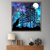 Diamond Painting  natural scenery print Embroidery Painting in reflection canvas Rhinestone 5D DIY bright color 30X30cm 67