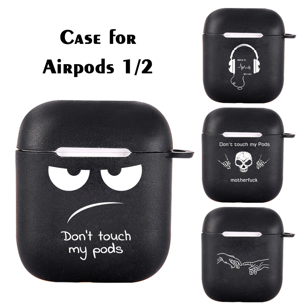 Silicone Case For Apple Airpods 1 2 Cases Cover Skull Simple Text Dont Touch My Airpods Cool Earphone Cover For Airpods Capa