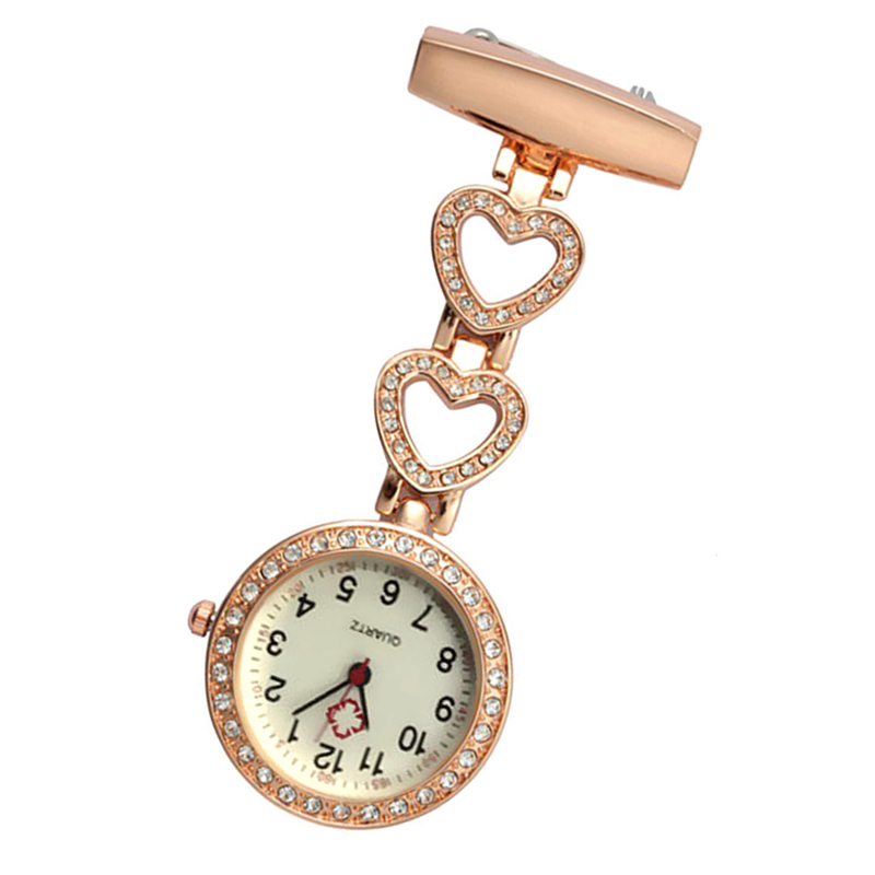 Fashion Women Pocket Watch Clip-on Heart/Five-pointed Star Pendant Hang Quartz Clock For Medical Doctor Nurse Watches B99