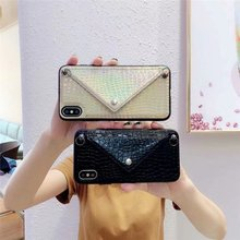 Card Coin Purse iPhone 11 Pro Max X XR XS Max 7 8 Plus Laser Envelope Leather Diagonal Chain Protective Case(China)