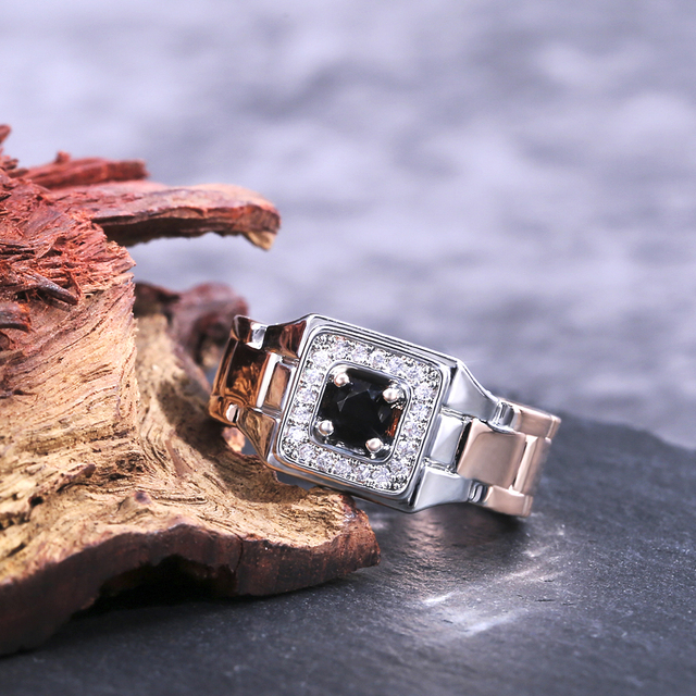 Watch Shaped Two Tone Ring 6