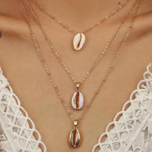 Three Layers of Shell Pendant Necklace Natural Shell Gold Cowrie Women Best Friend Cowry Seashell Necklace Bohemian Jewelry fashion bohemian shell pendant necklace natural shell gold women seashell necklace wedding jewelry for women