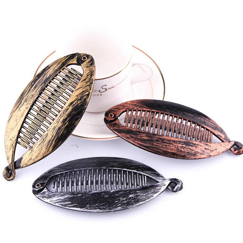 New Hair Claws Rhinestone Fish Clip Banana Shape Barrettes Hairpins Hair Accessories For Women Hair Clip Clamp DIY Accessories