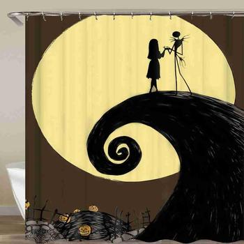 Happy Helloween Pumpkin Bat Shower Curtain Ghost And Moon Bathroom Curtain Waterproof Fabric With Hook 72x72 Inch