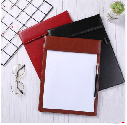 A4 Clipboards Pen Holder PU Leather Magnetic File Paper Profile Clip Board Writing Tablet Pad Mat (black Brown Red)