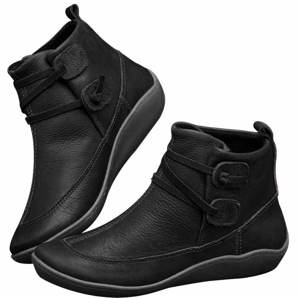2020 otoño invierno nuevas botas de cuero Vintage para mujer zapatos planos impermeables de invierno botas de tobillo de punta redonda botas de plataforma mujeres # O13