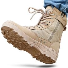 Męskie buty pustynne taktyczne buty wojskowe męskie buty robocze Safty skórzane buty wojskowe męskie buty zimowe buty Plus rozmiar 45 46 tanie tanio zipper LAKESHI RUBBER Dla dorosłych Stałe Zima Niska (1 cm-3 cm) Buty motocyklowe Lace-up Okrągły nosek Połowy łydki
