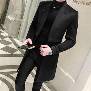 Blazer Men Slim-Fit Retro Designer Coat Vintage Male Casual Woolen Long Windbreaker Loose