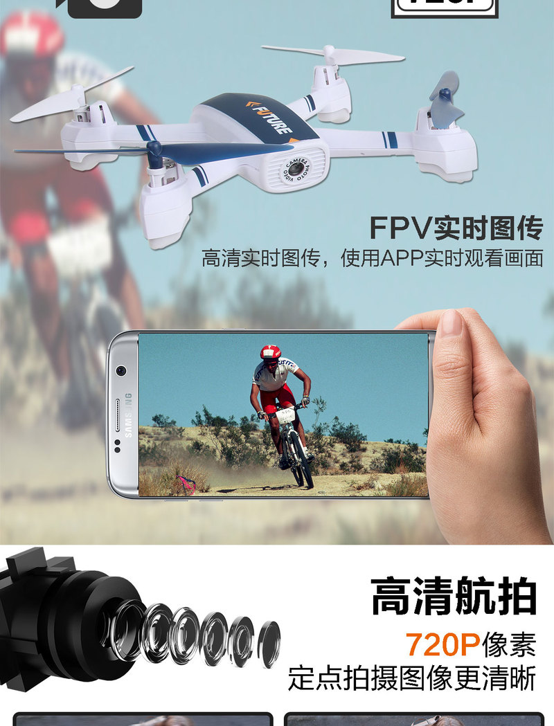 WIFI FPV RC Drone GPS Mining Point Drone 528 RC Quadcopter Full HD 720P Camera one key take off/landing/stop Stable Flight - 4