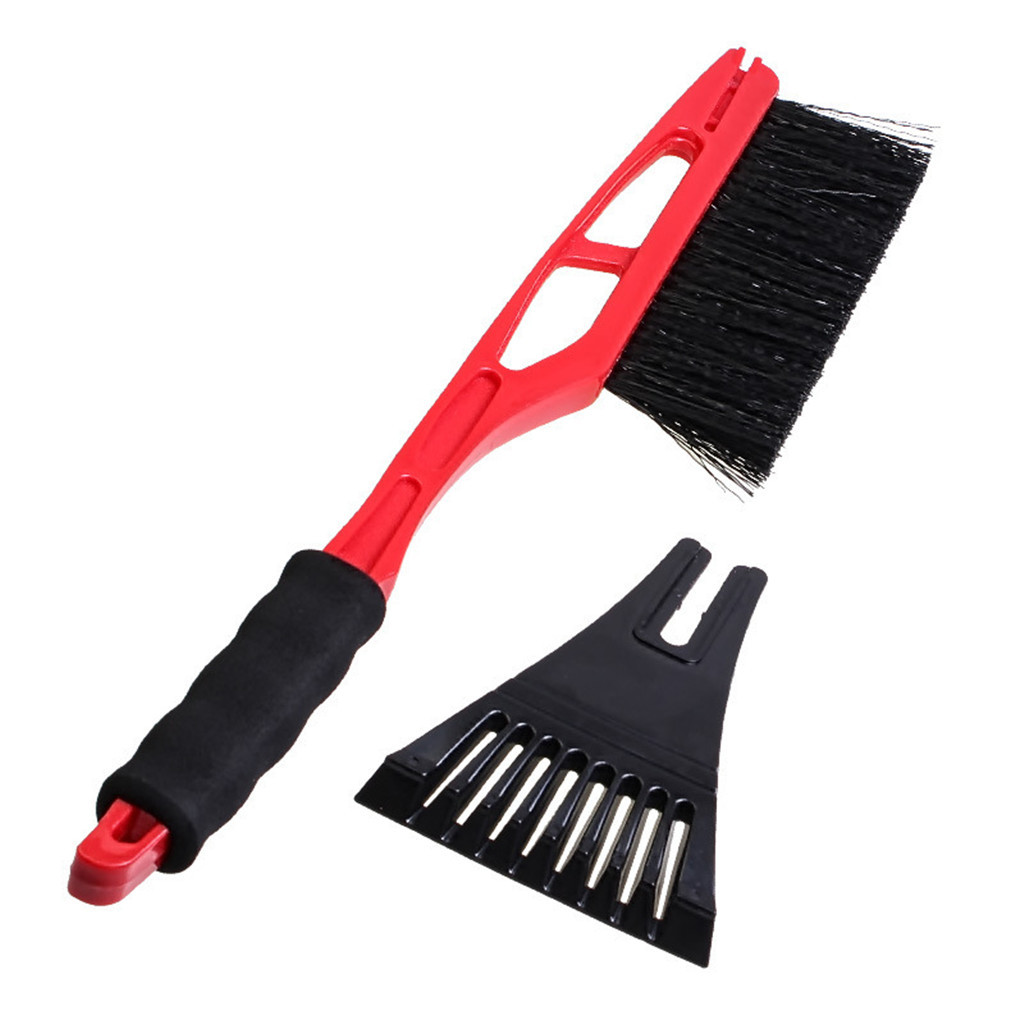 2-in-1 Car Ice Scraper Snow Remover Shovel Brush Window Windscreen Windshield Deicing Cleaning Scraping Tool#