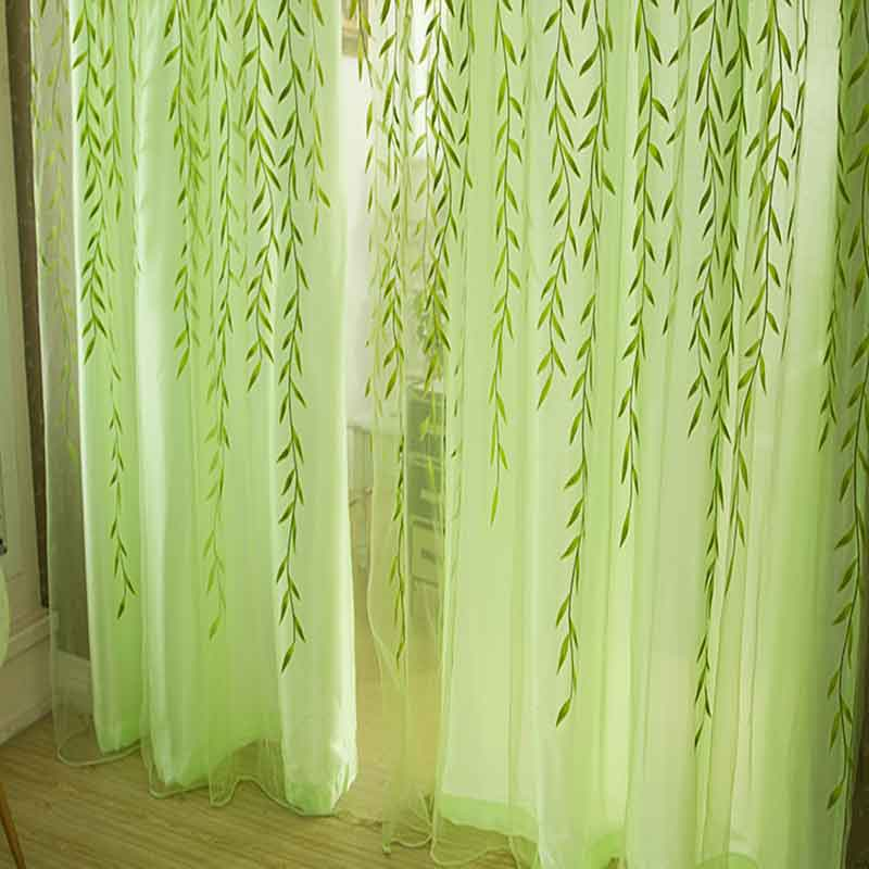 Pastoral Green Willow Curtains Transparent Tulle For Bedroom Living Room Kitchen Home Window Decoration Rod Pocket Curtains