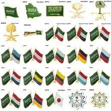 Broche de bandeira emblemas para arábia saudita, árvore de coco, estônia japonesa, austrália, bulgária, alemanha, rússia, países baixos, gabão