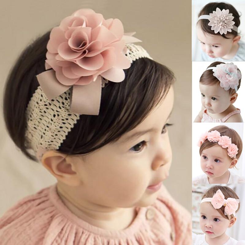 Fashion Elastic Princess Tiara Hair Band Baby Headband Crown Lace Flower