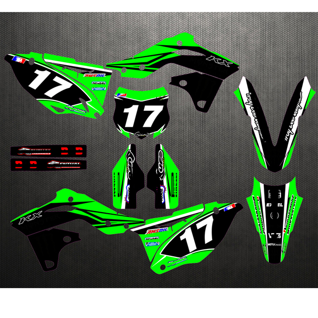 Для Kawasaki KX250F KXF250 KXF 250 KX 250F 2013 2014 2015 2016 пользовательский номер пластины наклейки и фоны графика