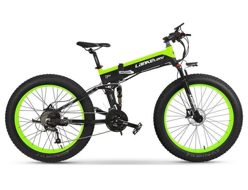 "EU Quality Level LANKELEISI 26x4.0"" 1000W Fat Tire Folding Electric Bicycle 48V 1000W 13AH Panasoni'c Lithium Battery 1"