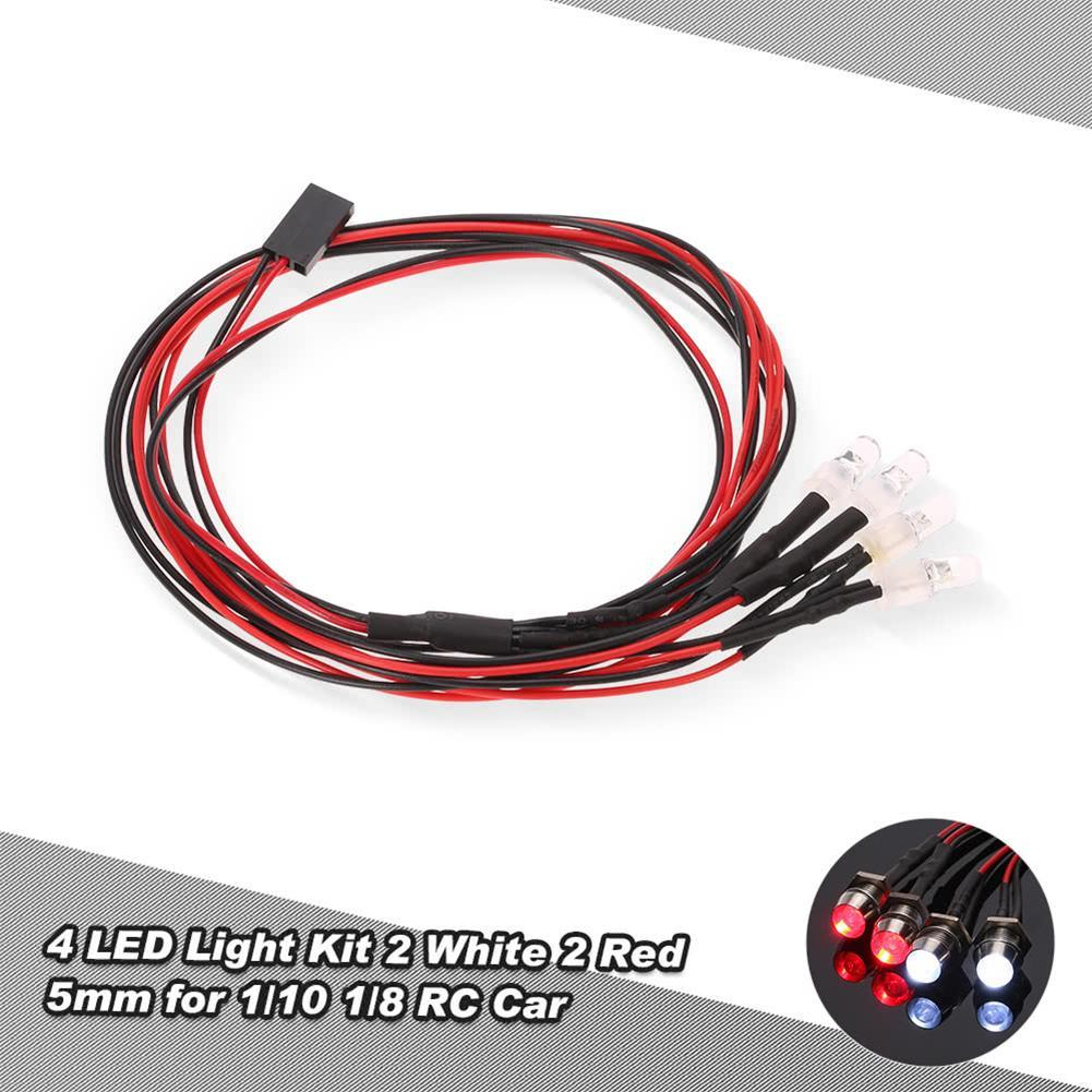 4 LED Lights Kit 2 White 2 Red For 1/10 1/8 HSP Redcat RC4WD Tamiya Axial SCX10 D90 HPI RC Car LED Light System Kit