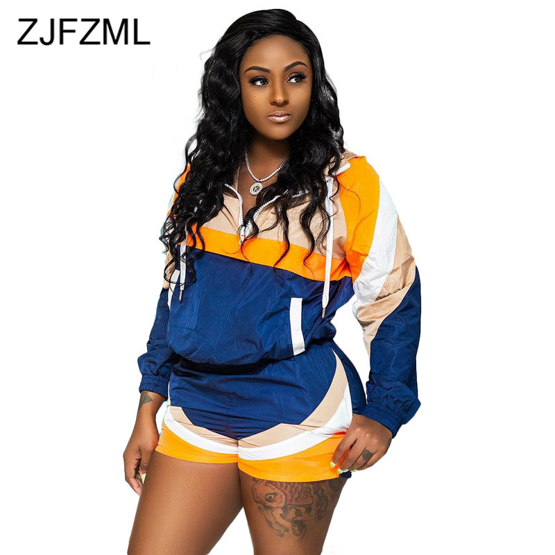 Contrast Color Sexy 2 Piece Matching Sets Women Long Sleeve Hooded Loose Top+Biker Shorts  Sweat Suits Casual Two Piece Outfits