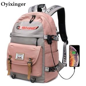 Image 1 - 대용량 대학 가방 여자를위한 학교 배낭 usb 충전 포트와 고등학교 bookbags 레이디 여성 여행 배낭