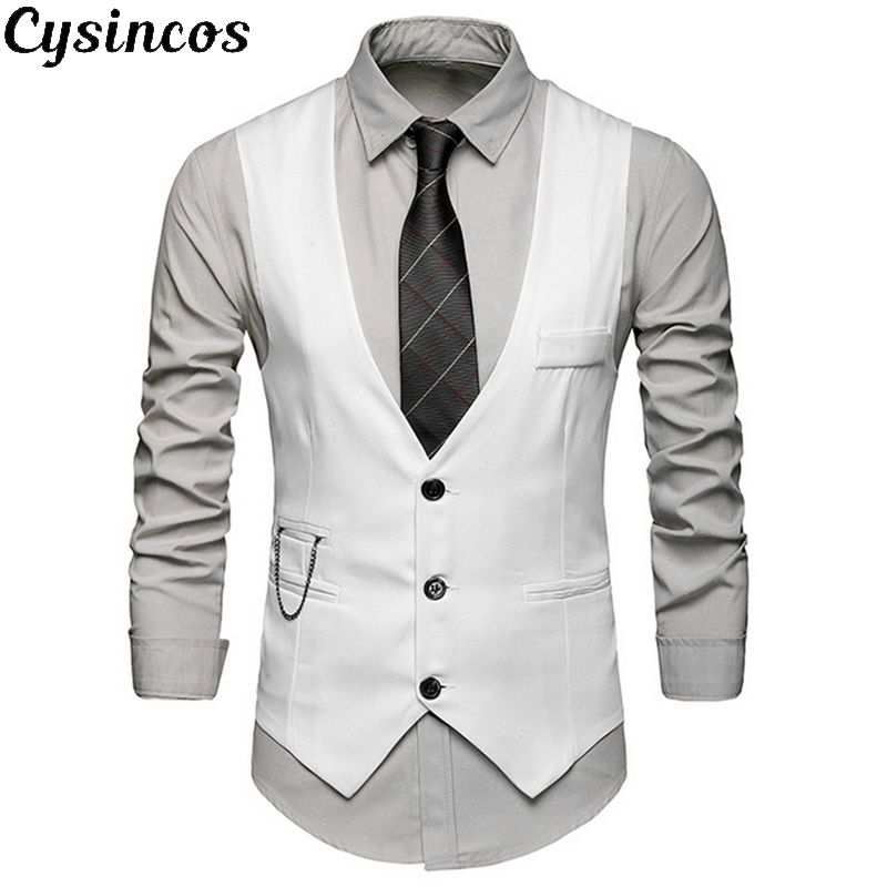 CYSINCOS Fashion Suit Vest Men Formal Vest Colete Masculino Herringbone Gilet Fitness Sleeveless Jacket Wedding Waistcoat Male