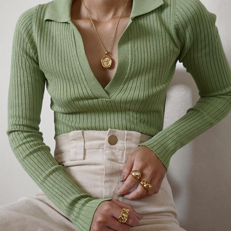 Womens Mix Color V Neck Casual Oversize Long Sleeve Knitted Sweater Tops Hollow