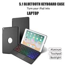 """อลูมิเนียมบลูทูธคีย์บอร์ดเมาส์ทัชแพดสำหรับiPadใหม่9.7 """",ทัชแพด + 7สีBacklight + สมาร์ทSleep/Wakeup"""