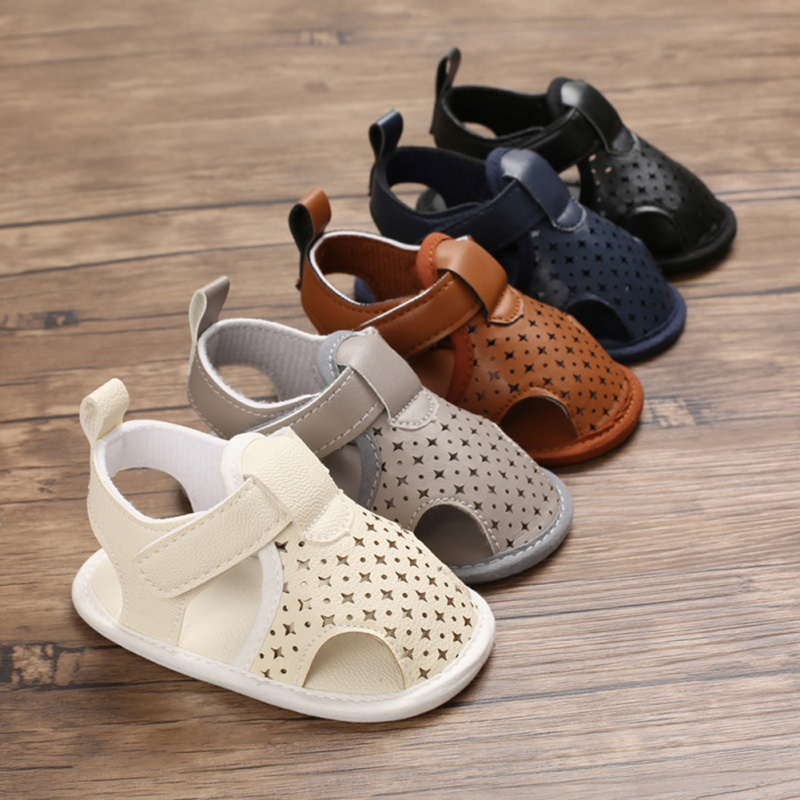 2020 Summer New PU Versatile Anti-Slip Bow Baby Boy Shoes Sandals Toddler Soft Soled Newborn First Walkers Crib Shoes
