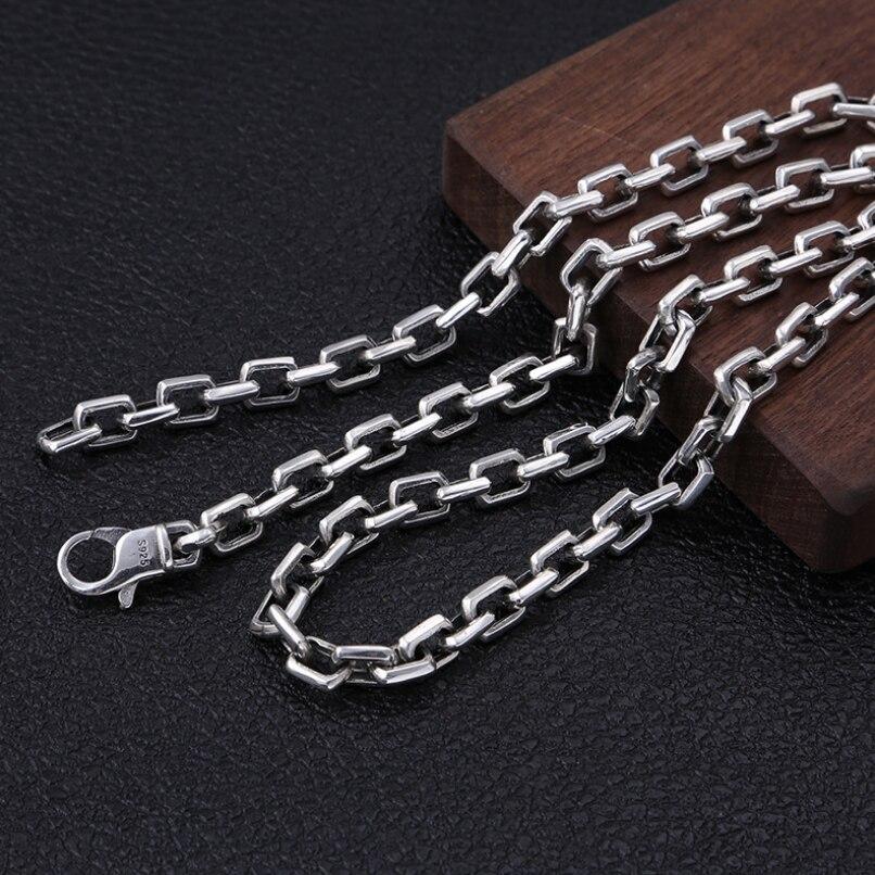 Тяжелая 925 пробы Серебряная 7 мм Простая цепочка для мужчин ожерелье мужское винтажное тайское серебряное стимпанк байкерское ожерелье s ювелирное изделие - 2