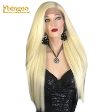 Ebingoo 42 Inch Long Straight 613 Platinum Blonde Synthetic Lace Front Wig Womens Middle Part Stylish Futura