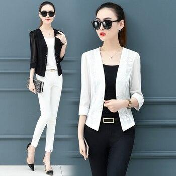 Женский блейзер, топ, пиджак, черный, белый цвет, летнее короткое пальто для отдыха, Одежда большого размера M-3XL