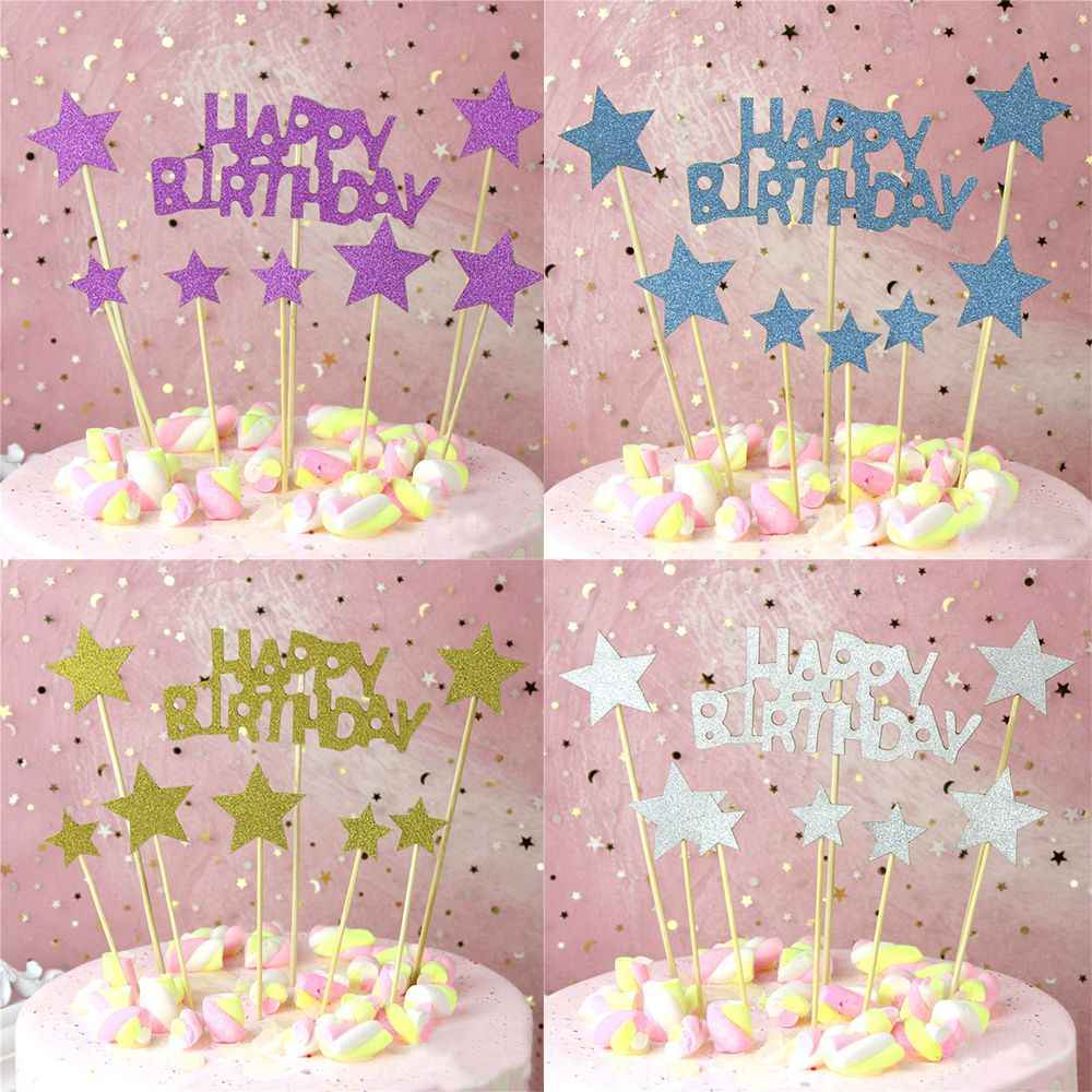 Outstanding Hot New 1 Set Gold Sparkling Star Happy Birthday Cupcake Topper Funny Birthday Cards Online Aboleapandamsfinfo